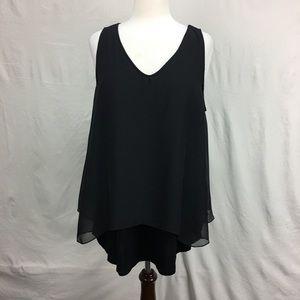 Joan Vass Black Knit Chiffon Overlay Top
